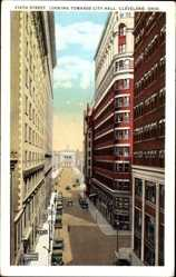 Postcard Cleveland Ohio USA, Sixth Street, looking towards City Hall