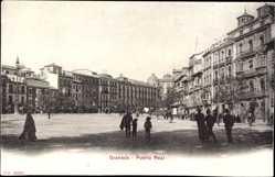 Postcard Granada Andalusien Spanien, Puerta Real, Platz im Ort