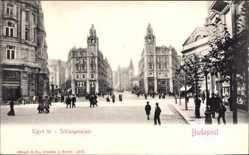 Ak Budapest Ungarn, Kigyo ter, Schlangenplatz, Straßenpartie