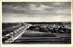 Postcard Niechorze Horst Pommern, Gesamtansicht der Ortschaft, Küste, Strand, Felder