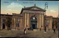Postcard Belgrad Serbien, Palyaudvar, Bahnhof von der Straßenseite