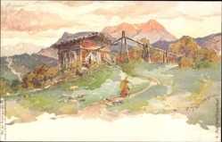 Künstler Litho Schmohl, P., Tuxertal Tirol Österreich, Sennhütte