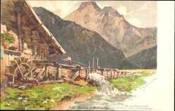 Künstler Litho Mayrhofen Schmohl, P., Zillertal Tirol, Wassermühle