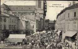 Postcard Lunéville Meurthe et Moselle, La Place Saint Jacques, Restaurant