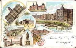 Litho Amsterdam Nordholland Niederlande, Reichsmuseum, Börse, Rembrandtdenkmal