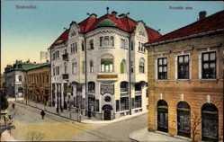 Postcard Szabadka Subotica Serbien, Kossuth utca, Straßenpartie, Geschäft