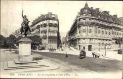 Ak Paris 16e Frankreich, Rue de Longchamp et Place d'Iena, Reiterstandbild