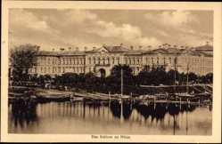 Postcard Jelgava Mitau Lettland, Blick auf das Schloss vom Wasser aus