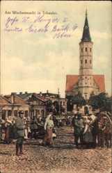 Postcard Šiauliai Schaulen Litauen, Blick auf den Wochenmarkt, Pferd, Kirche
