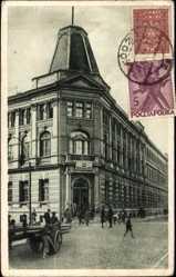 Postcard Lodz Lodsch Polen, Urzad pocztowy, Straßenpartie, Passanten, Fuhrwerk