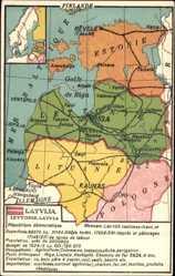 Landkarten Ak Lettland, Kaunas, Vilno, Riga, Pernava, Tallinn, Ludza, Litauen
