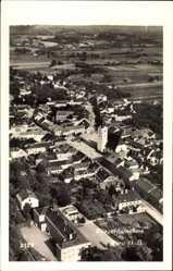 Postcard Perg Oberösterreich, Blick auf den Ort, Kirche, Felder, Fliegeraufnahme
