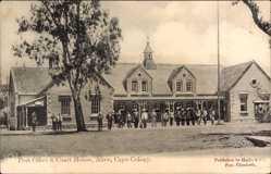 Postcard Alice Cape Colony Südafrika, Post Office and Court House, Postamt, Straße