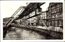 Postcard Barmen Wuppertal in Nordrhein Westfalen, Schwebebahn, Alexanderbrücke