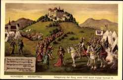 Künstler Ak Weinsberg im Kreis Heilbronn, Belagerung der Burg anno 1140