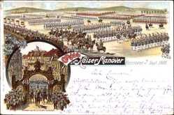 Litho Hannover in Niedersachsen, Kaiser Manöver, Rückkehr des Kaisers
