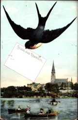 Postcard Chemnitz Sachsen, Blick auf den Ort über Gewässer hinweg, Zieher, Schwalbe