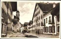 Postcard Mittenwald an der Isar, Partie am Obermarkt, Hotel Post