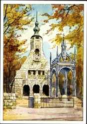 Künstler Ak Lützen im Burgenlandkreis, Gustav Adolf Denkmal, Gedächtniskapelle