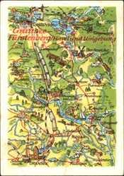 Landkarten Ak Gransee im Kreis Oberhavel, Fürstenberg, Tornow, Mildenberg