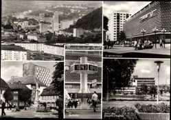 Postcard Suhl in Thüringen, Zeituhr, Karl Marx Platz, C Warenhaus,Haus d. Gewerkschaft