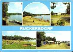 Postcard Rückersdorf Niederlausitz, Seepartie, Campingplatz, Liegewiese