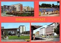Postcard Eisenhüttenstadt in Brandenburg, Fröbelring, Leninallee, Str. der Republik
