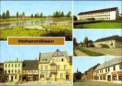 Postcard Hohenmölsen im Burgenlandkreis, Freibad, Erich Weinert Oberschule, Markt