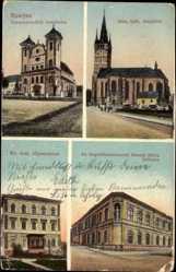 Postcard Eperjes Prešov Preschau Slowakei, Kirchen, Gymnasium