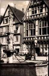 Postcard Fritzlar im Schwalm Eder Kreis, Rolandsbrunnen, Hotel