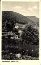 Postcard Gemünd Schleiden in der Eifel, Jugendherberge, Fluss, Holzbrücke