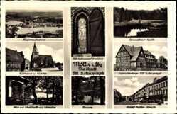 Postcard Mölln im Herzogtum Lauenburg, Eulenspiegel Grabstein, Rathaus, Kirche, DJH