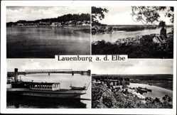 Postcard Lauenburg an der Elbe, Elbdampfer, Flusspartie