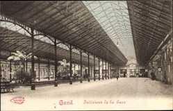 Postcard Gent Ostflandern, Interieur de la Gare du Sud, Bahnhofshalle
