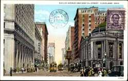 Postcard Cleveland Ohio USA, Euclid Avenue and East 9th Street