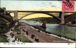 Postcard New York City USA, The Speedway, Eisenbahnviadukt, Fluss