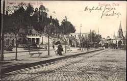 Postcard Santiago de Chile, Plazuela del Carro Santa Lucia, Straßenpartie, Kirche