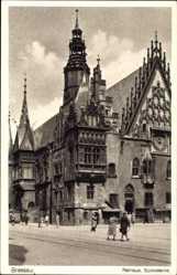 Ak Wrocław Breslau Schlesien, Rathaus, Südostecke, Ratusz, Ring, Rynek