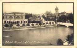 Postcard Zürich Stadt Schweiz, Hauptbahnhof und Landesmuseum