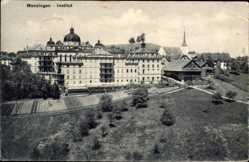 Postcard Menzingen Kanton Zug, Vogelschau auf das Institut