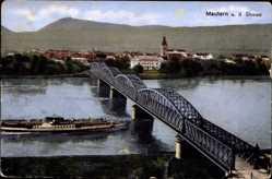 Postcard Mautern an der Donau Niederösterreich, Totalansicht, Donaudampfer, Brücke