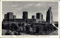 Postcard Stębark Tannenberg Ostpreußen, Nationaldenkmal mit Löwendenkmal
