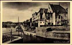 Postcard Middelburg Zeeland, Balkengat, Häuser am Wasser