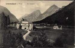 Postcard Unterleutasch Leutasch Tirol, K.u.k. Zollamt, Gebäude
