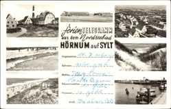 Postcard Nordseebad Hörnum auf Sylt, An der Düne, Leuchtturm, Hafen, Strand