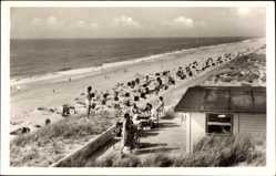 Postcard Nordseebad Hörnum auf der Insel Sylt, Strandpartie, Meer, Cafe