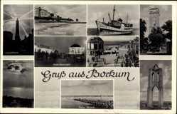 Postcard Insel Borkum im Kreis Leer, Leuchtturm, M.S. Westfalen, Kurpromenade
