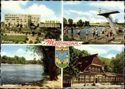 Postcard Mettmann im Rheinland, Kreishaus, Freibad, Goldbergerteich, Schwarzwaldhaus