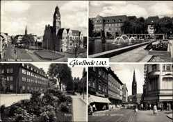 Postcard Gladbeck im Ruhrgebiet, Rathaus mit Hochstraße, Postamt, Horster Straße
