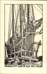 Künstler Ak Feuerschiff Elbe IV. auf den Helgen, Segelschiff